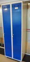 Garderobeskap i stål, lys grå med dører i blått, 2 rom. 70cm bredde, 55cm dybde, 202cm høyde, pent brukt