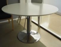 Rundt møtebord / konferansebord / kantinebord i hvitt / krom, Ø=110cm, pent brukt