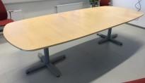 Møtebord i bjerk / grått, Kinnarps T-serie, 280x120cm, passer 8-10 personer, pent brukt