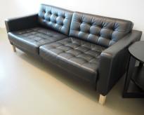 Skinnsofa, 3seter, Landskrona fra Ikea, sort skinn, 188cm bredde, pent brukt