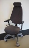 Kontorstol / arbeidsstol fra Hepro, modell Tilto EHR, blåmelert stoff / grått, høy rygg og nakkepute, pent brukt