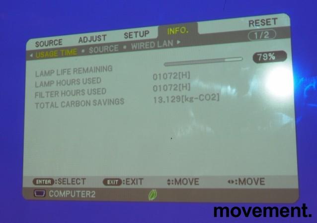 NEC Prosjektor M300W, 3000Lumen, HDMI, Widescreen 1280x800, 1072timer på pæren, pent brukt bilde 2