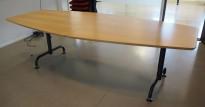Møtebord / konferansebord i bøk / sort fra Edsbyn, 240x113cm, passer 8-10 personer, brukt med noe slitasje