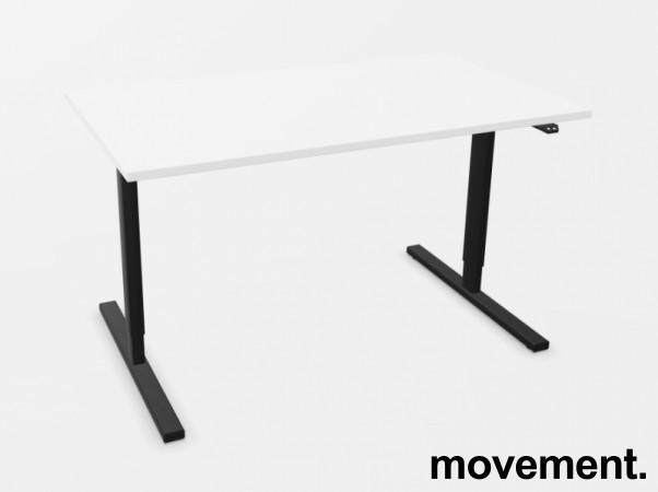 Skrivebord med elektrisk hevsenk i hvitt / sort fra Linak, 140x80cm, NY/UBRUKT