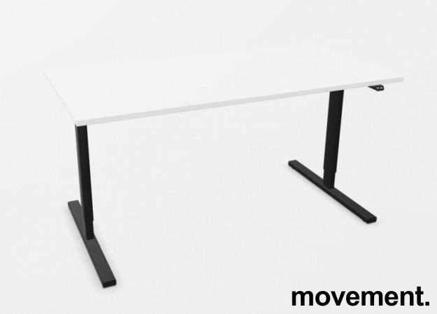 Skrivebord med elektrisk hevsenk i hvitt / sort fra Linak, 160x80cm, NY/UBRUKT