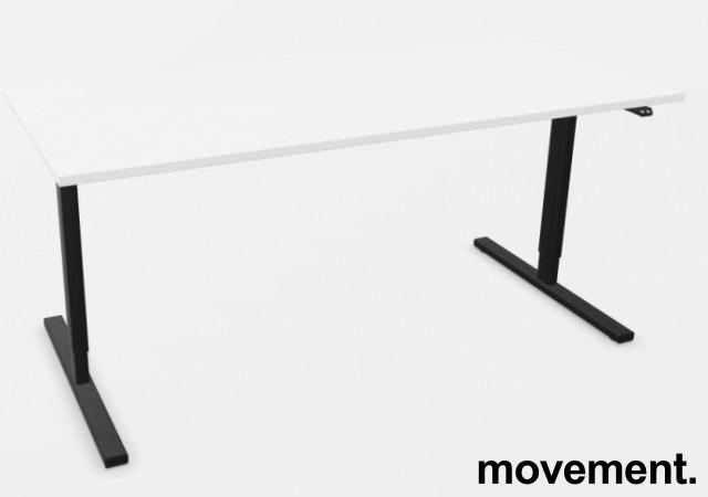 Skrivebord med elektrisk hevsenk i hvitt / sort fra Linak, 180x80cm, NY/UBRUKT