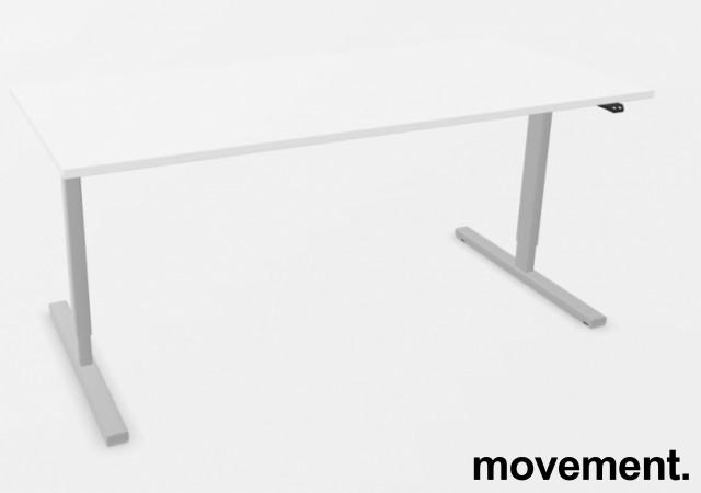 Skrivebord med elektrisk hevsenk i hvitt / grått fra Linak, 180x80cm, NY/UBRUKT