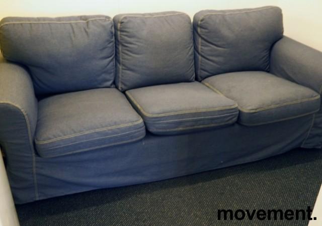 """Ikea Ektorp sofa 3seter, """"jeanstrekk"""", 218cm bredde, pent brukt bilde 1"""