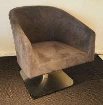 Loungstol / lenestol for stillerom e.l. i mørk grå mikrofiber, pent brukt