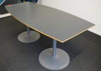 Møtebord i grått fra EFG, 180x80cm, passer 6 personer, pent brukt