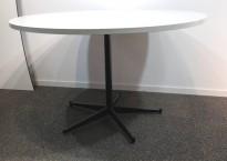 Rundt møtebord / konferansebord / kantinebord i hvitt / sort, Ø=120cm, pent brukt
