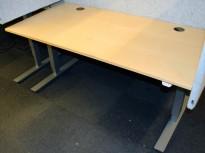 EFG rektangulært skrivebord med elektrisk hevsenk, bjerk plate, 160x80cm,, pent brukt
