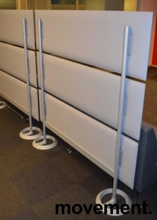 Frittstående skillevegg, grå stofftrukkede paneler, Caimi, Italia, 160cm b, 162cm h, pent brukt bilde 3