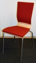 Konferansestol fra EFG i bjerk / rødt stoff / grå ben, modell GRAF, pent brukt