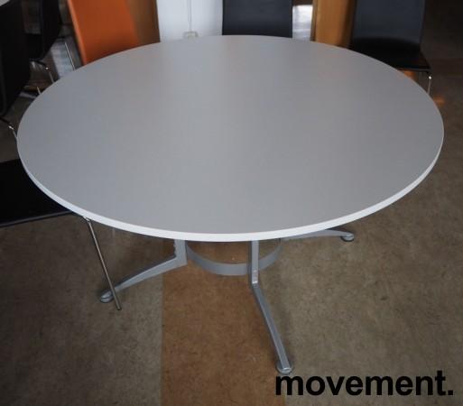 Rundt møtebord / konferansebord / kantinebord i hvitt / grått fra Kinnarps, modell Asto, Ø=130cm, pent brukt bilde 2