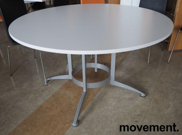 Rundt møtebord / konferansebord / kantinebord i hvitt / grått fra Kinnarps, modell Asto, Ø=130cm, pent brukt bilde 1