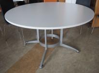 Rundt møtebord / konferansebord / kantinebord i hvitt / grått fra Kinnarps, modell Asto, Ø=130cm, pent brukt