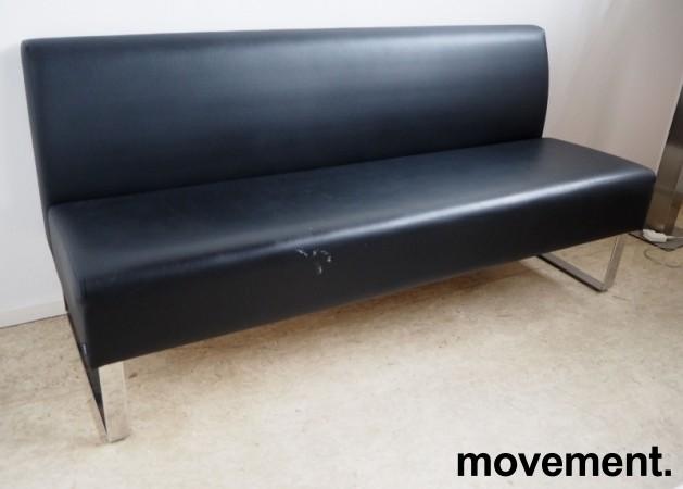 Sittebenk / sofa for kantine e.l i sort skinn fra Materia, Monolite, bredde 170cm, pent brukt bilde 1