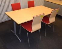 Kompakt møtebord fra EFG, 140x80cm, Avec-serie, Bjerk bordplate, passer 4 pers, 72cm h, pent brukt