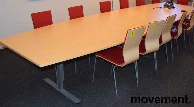 Stort møtebord fra EFG, 480x120cm, Izi Effect serie, bjerk / grått understell, passer 16-18pers, pent brukt bilde 3