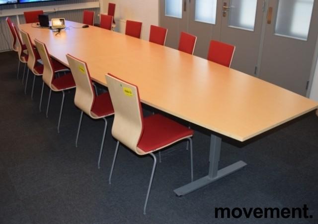 Stort møtebord fra EFG, 480x120cm, Izi Effect serie, bjerk / grått understell, passer 16-18pers, pent brukt bilde 2