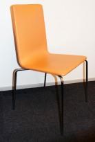 Konferansestol fra Skandiform i orange skinn / krom, mod: Bombito High, pent brukt