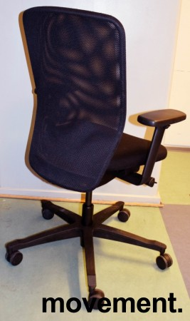 EFG Teamspirit kontorstol, sort stoffsete, mesh rygg, armlener, sort kryss pent brukt bilde 2