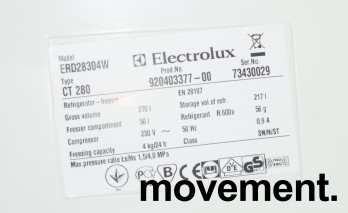 Kjøleskap / kombiskap fra Electrolux, modell ERD28304W, 55cm bredde, 159cm høyde, pent brukt bilde 4