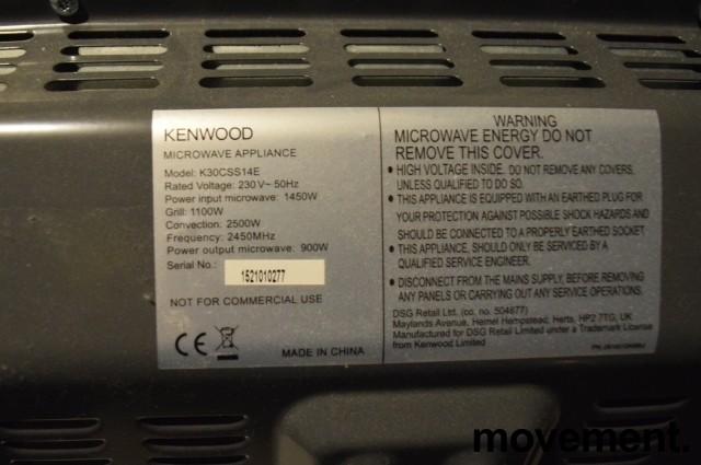 Kenwood mikrobølgeovn med varmluft, frittstående K30CSS14E, stål/sølvfarget, pent brukt bilde 4