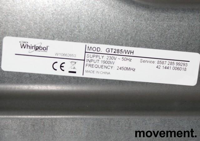Whirlpool mikrobølgeovn i hvitt, Grill/Crisp-funksjon, modell Gusto GT285/WH, 52cm bredde, pent brukt bilde 3