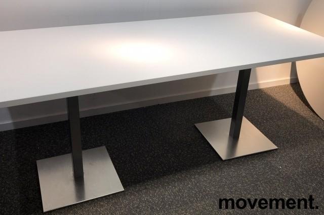 Kompakt møtebord / kantinebord i hvitt / satinert stål, 180x80cm, passer 6 personer, pent brukt understell med ny plate bilde 1