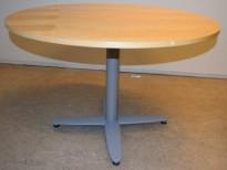 Rundt møtebord med bjerk bordplate fra Kinnarps T-serie, Ø=110cm, H=72cm, grått understell, pent brukt