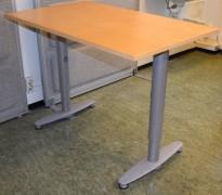 Sidebord til skrivebord 100x60cm i Kinnarps  T-serie, bjerk plate, grå ben, pent brukt