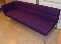 Kinnarps Wilson 3-seter sofa med 1 vange, lilla ullfilt, bredde 208cm, pent brukt - noe falmet