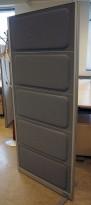 Skillevegg fra Kinnarps, modell Rezon i grått, 80cm bredde, 180cm høyde, pent brukt