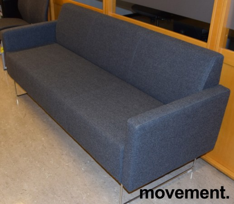 Loungesofa: VAD Pivot 3-seter sofa i mørkegrått melert ullstoff, 188cm bredde, pent brukt bilde 1