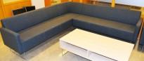 Loungesofa: VAD Pivot hjørneløsning 3+3-seter sofa i mørkegrått melert ullstoff, 244x244cm bredde, pent brukt