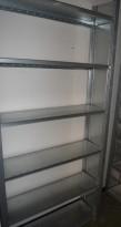 Stålhylle / lagerhylle i galvanisert stål fra Dexion, 220cm høyde, 31cm dybde, 105cm bredde, 6 hylleplater, pent brukt