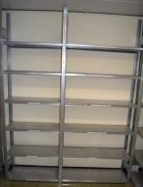 Stålhylle / lagerhylle i galvanisert stål fra Dexion, 230cm høyde, 31cm dybde, 181,5cm bredde, 12 hylleplater, pent brukt