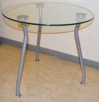 Lite, rundt loungebord i glass/stål  / lite glassbord Ø=60cm H=54,5cm, pent brukt
