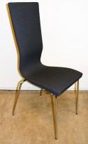 Konferansestol fra EFG heltrukket i mørkegrått stoff, krom ben, høy rygg. modell GRAF, pent brukt