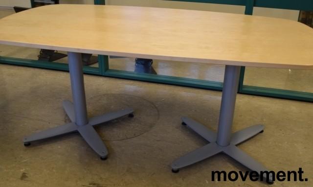 Kompakt møtebord i bjerk, Kinnarps T-serie, 180x90cm, passer 6personer, pent brukt bilde 2