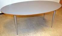 Ovalt konferansebord / møtebord i grått, 180x100cm, passer for 6-8 personer, pent brukt