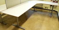 Elektrisk hevsenk hjørneløsning skrivebord i lys grå, 280x200cm, pent brukt