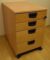 Kinnarps skuffseksjon på hjul i bøk, E-serie, 4 skuffers, 40cm bredde, 61,5cm høyde, pent brukt