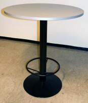 Ståbord/messebord med grå plate Ø=90cm, understell i sort med fotring, 106cm høyde, pent brukt