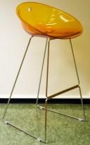 Barkrakk fra Pedrali, Gliss 902, orange sete / krom understell, 78cm sittehøyde, pent brukt
