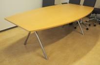Møtebord fra EFG i bøkefiner / krom ben, 210x118cm, passer 6-8 personer, pent brukt