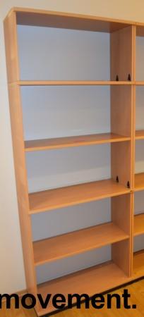 Høy bokhylle E-serie i bøk fra Kinnarps, 5permhøyder / 5H, 203cm høyde, pent brukt bilde 1