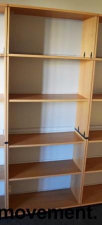 Høy bokhylle E-serie i bøk fra Kinnarps, 5permhøyder / 5H, 203cm høyde, pent brukt bilde 5